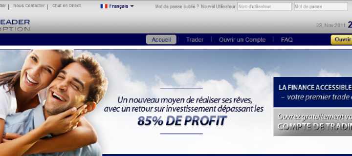 Leader Option, une arnaque aux options binaires